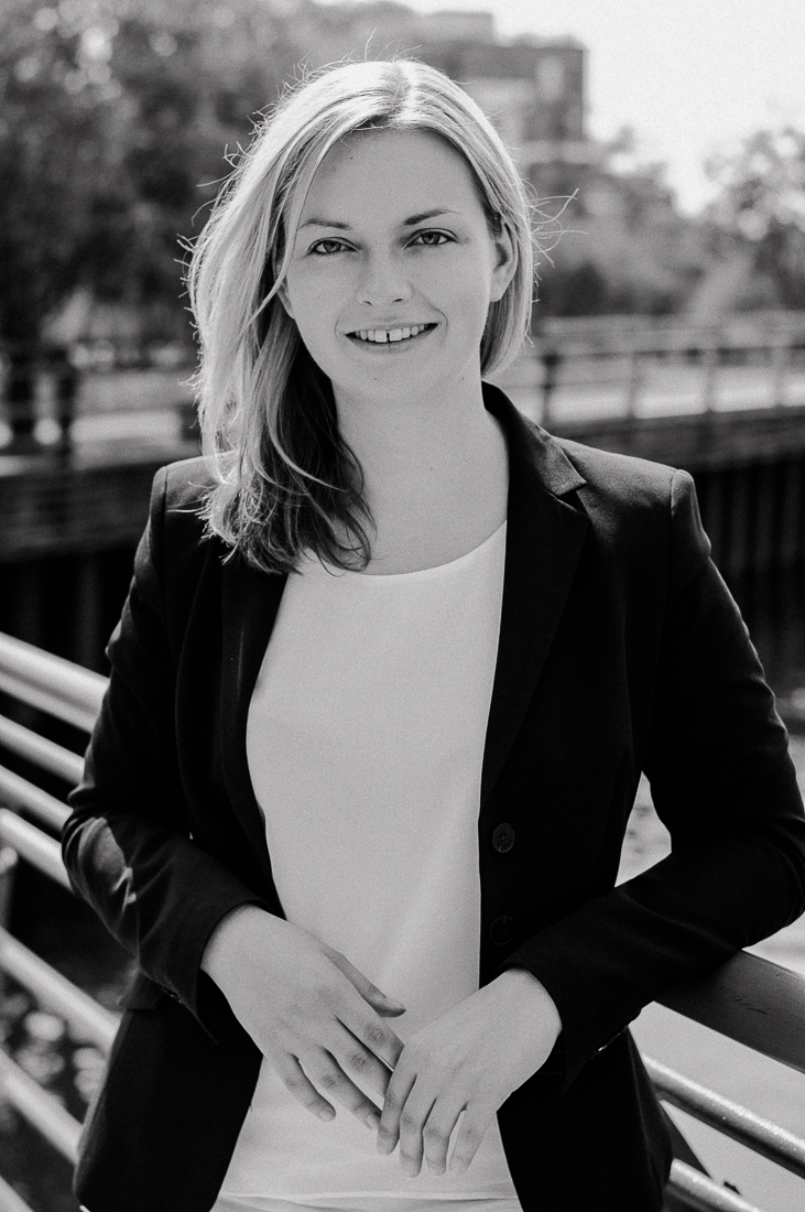 Black and white Business photography of woman in Berlin