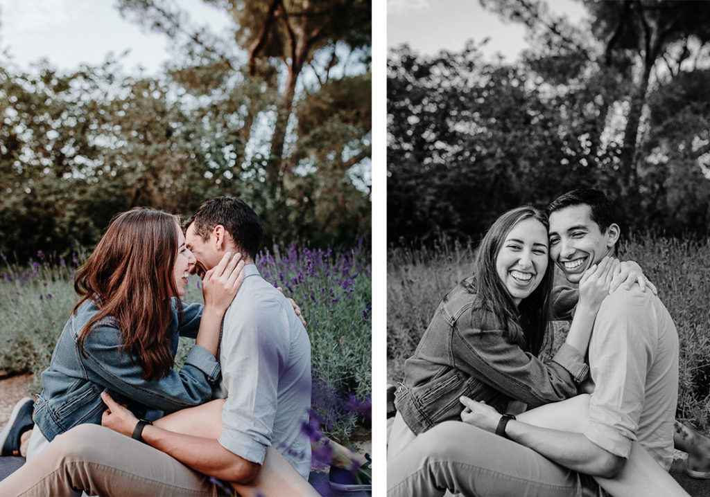 Smiling couple shooting in lavender field