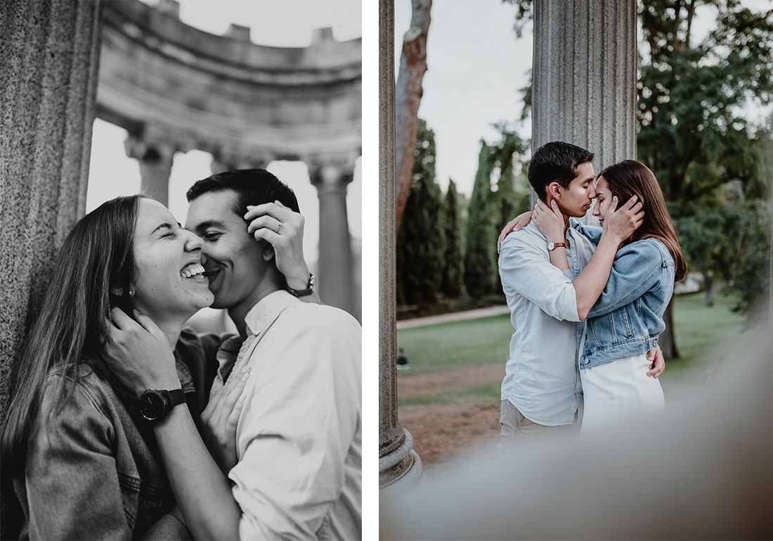 Couple shooting in Madrid's beautiful Parque El Capricho