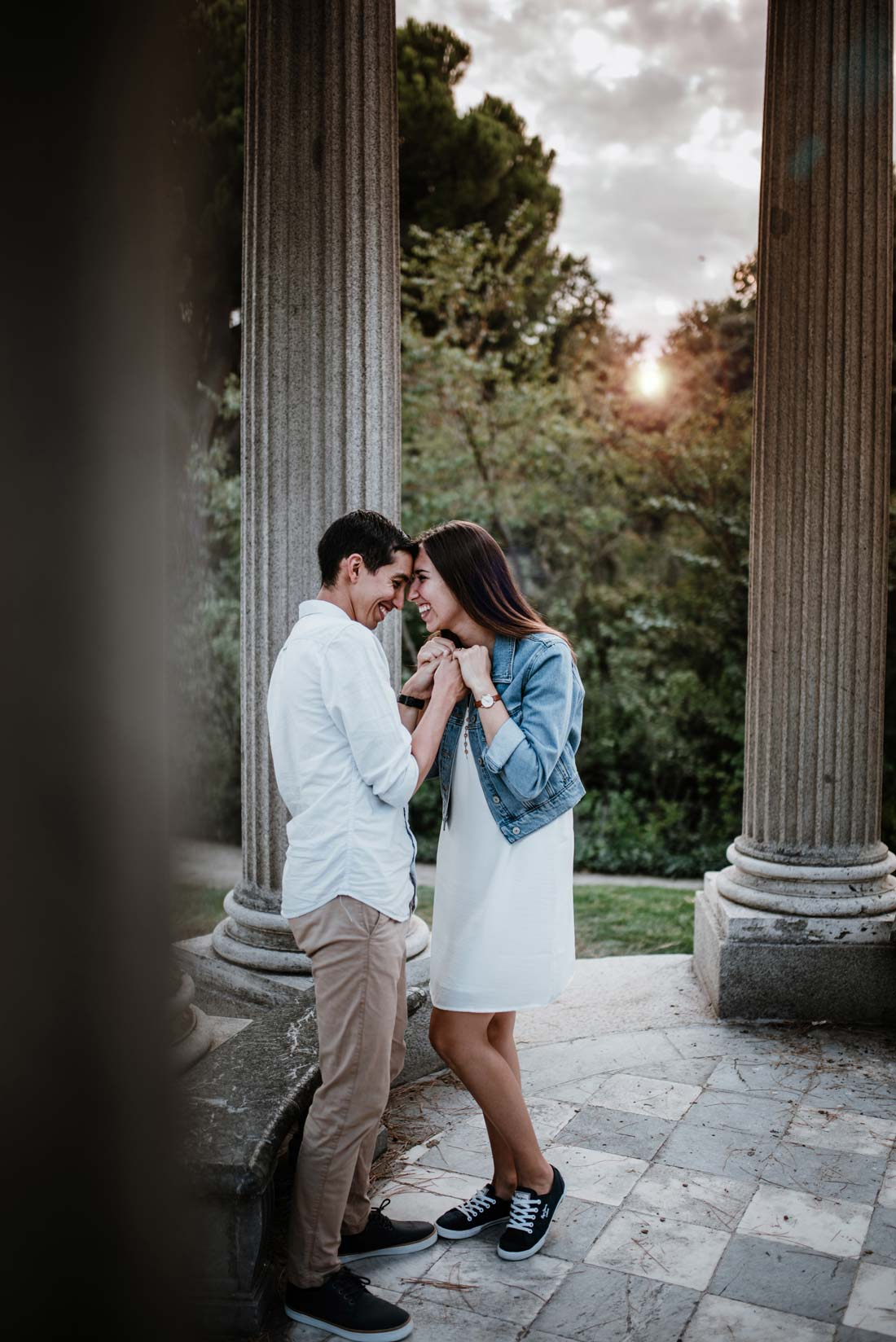 happy engagement at sunset