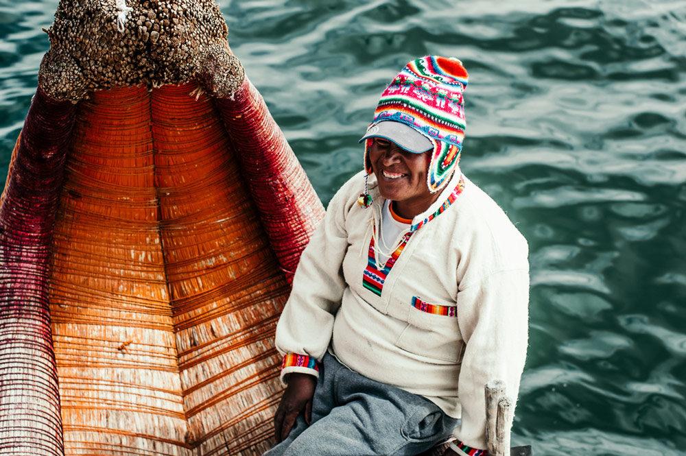 Smiling Man Islas de los Uros in Bolivia