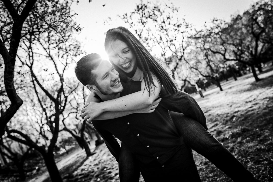 Laughing couple on spring day