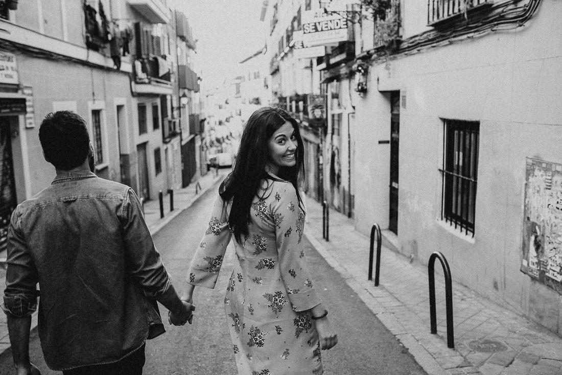 Couple strolling around Lavapies