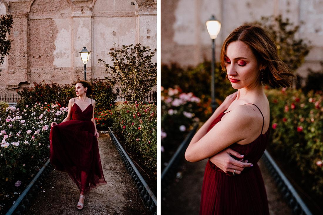 Red dress woman running
